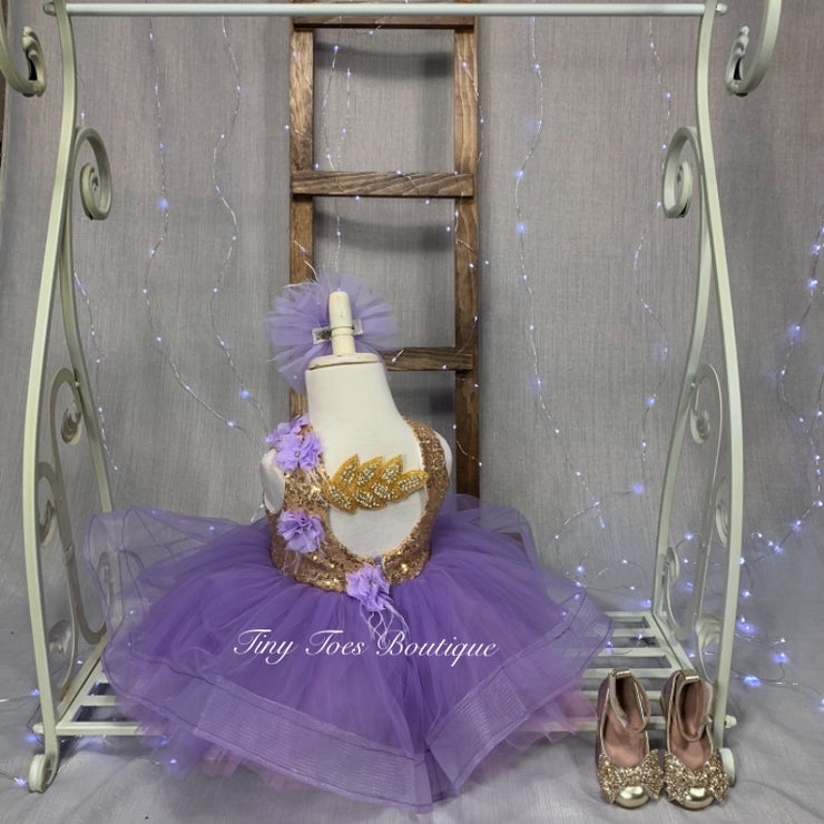 Jane Dress ( Lavender and Gold )