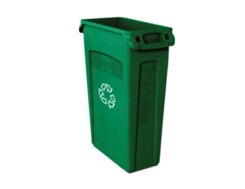 RUBBERMAID Contenedor Slim Jim Con Ranuras De Ventilacion Y Reciclaje Color Verde