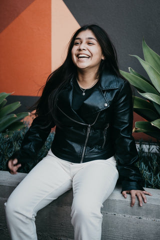 faux leather jacket as inspiration for fall clothes for women