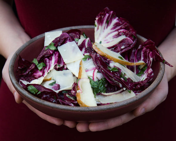 Radicchio & Pear Salad with Parmesan Vinaigrette