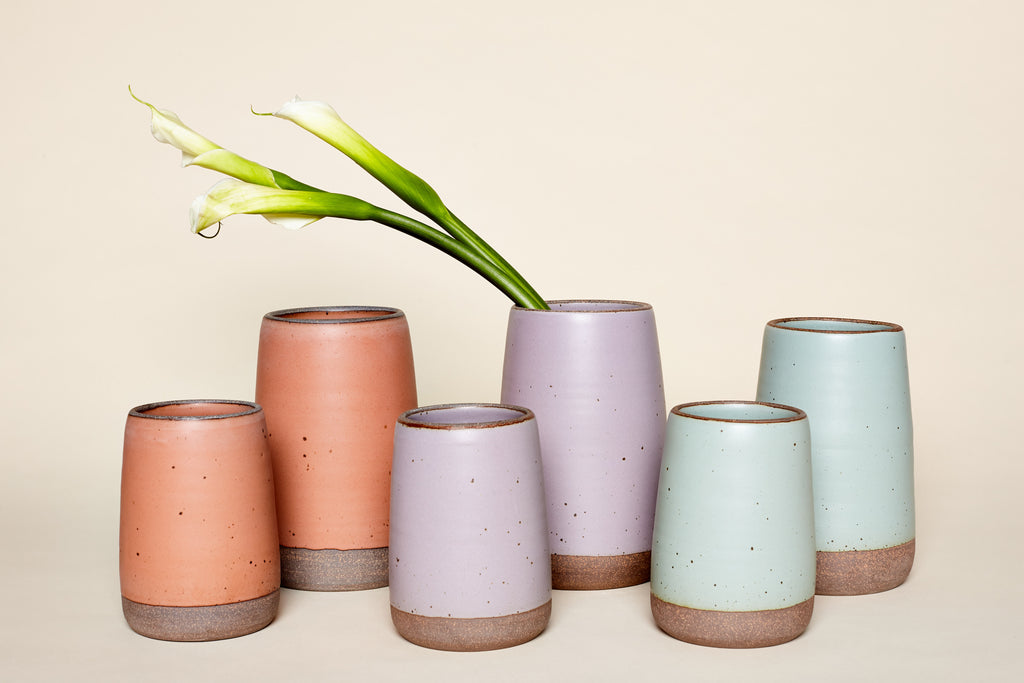 Large and Small Slope Vases by East Fork Pottery