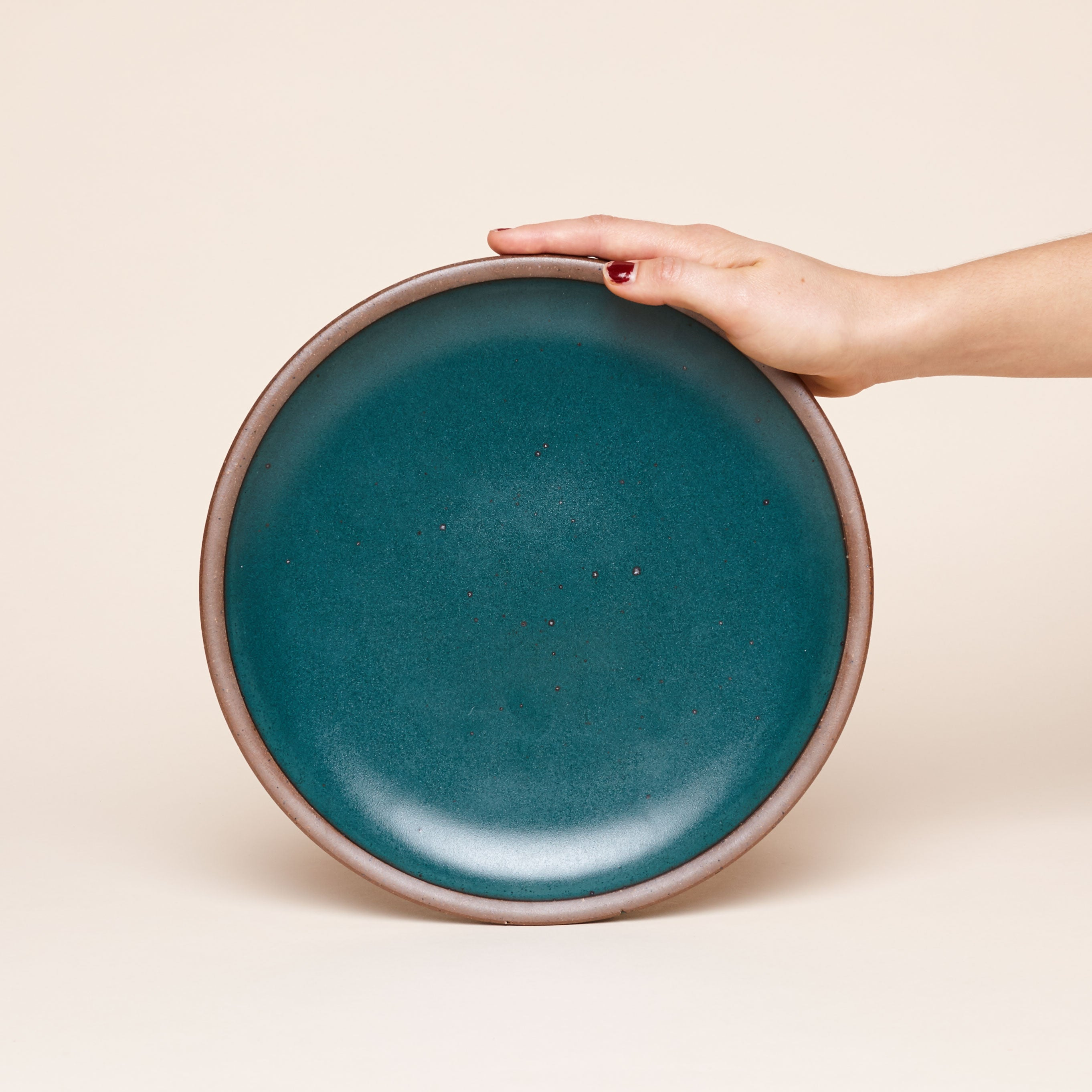An East Fork Pottery Dinner plate in Night Swim, and inky dark teal.