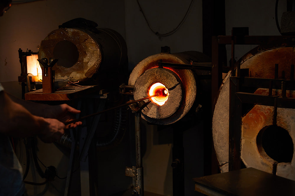 Hayden Wilson making glass with his furnace