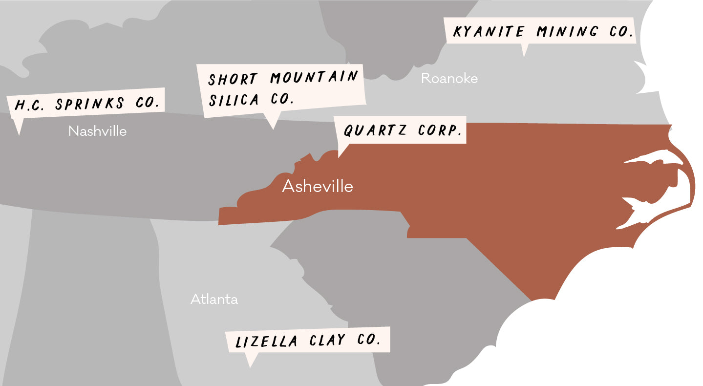A map of where East Fork Pottery gets its clay.