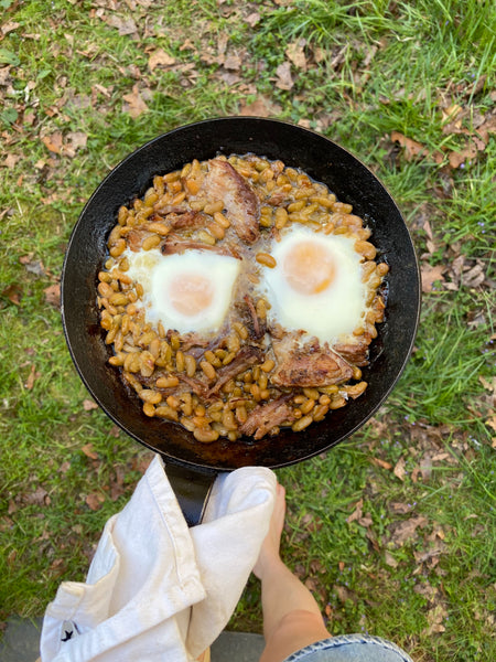 Cassoulet with two eggs