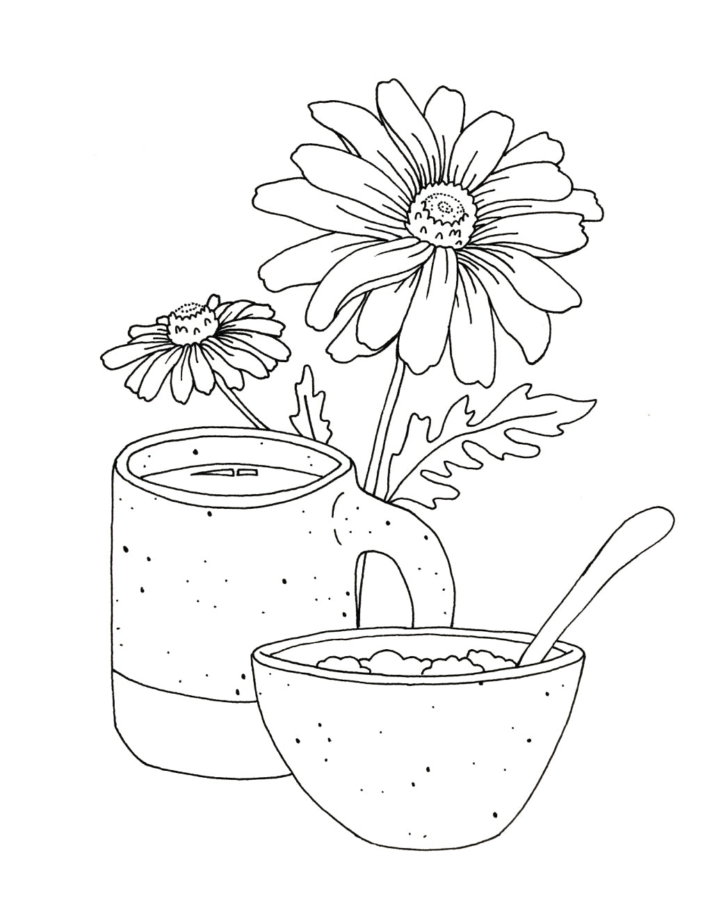 Birds Family On The Cherry Blossom Tree Coloring Page - Free ... | 1325x1024