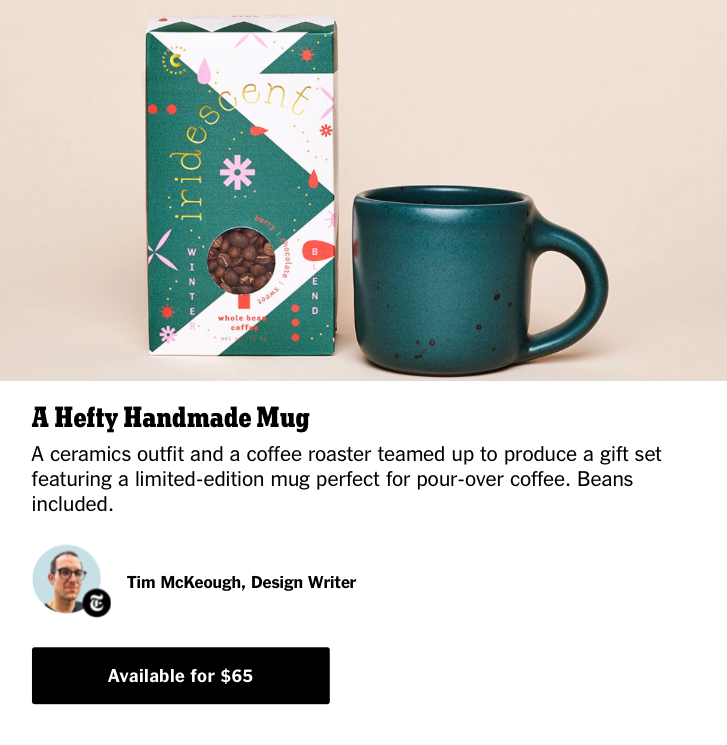 2019 Gift Guide inclusion: the Counter Culture Coffee + East Fork gift set. Includes 1 hand-thrown mug by East Fork in a oceanic blue-green glaze, Night Swim, and a box of coffee called Iridescent by Counter Culture.