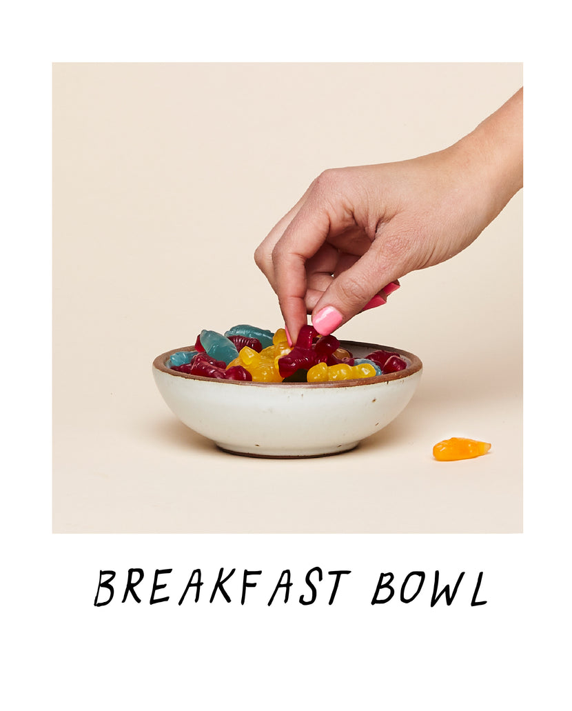 An Eggshell Breakfast Bowl filled up with Gummy Bears