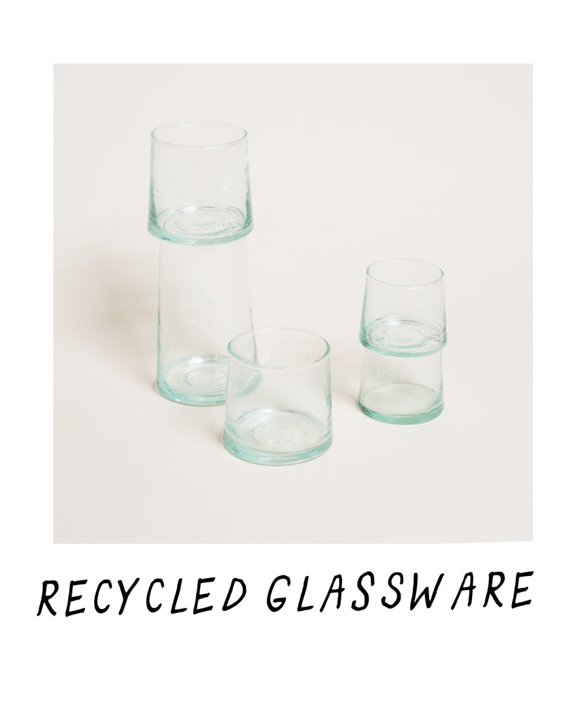 Stacks of Recycled Glassware