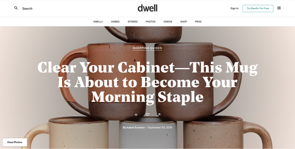Article by Dwell: Clear Your Cabinet-This Mug Is About to Become Your Morning Staple.