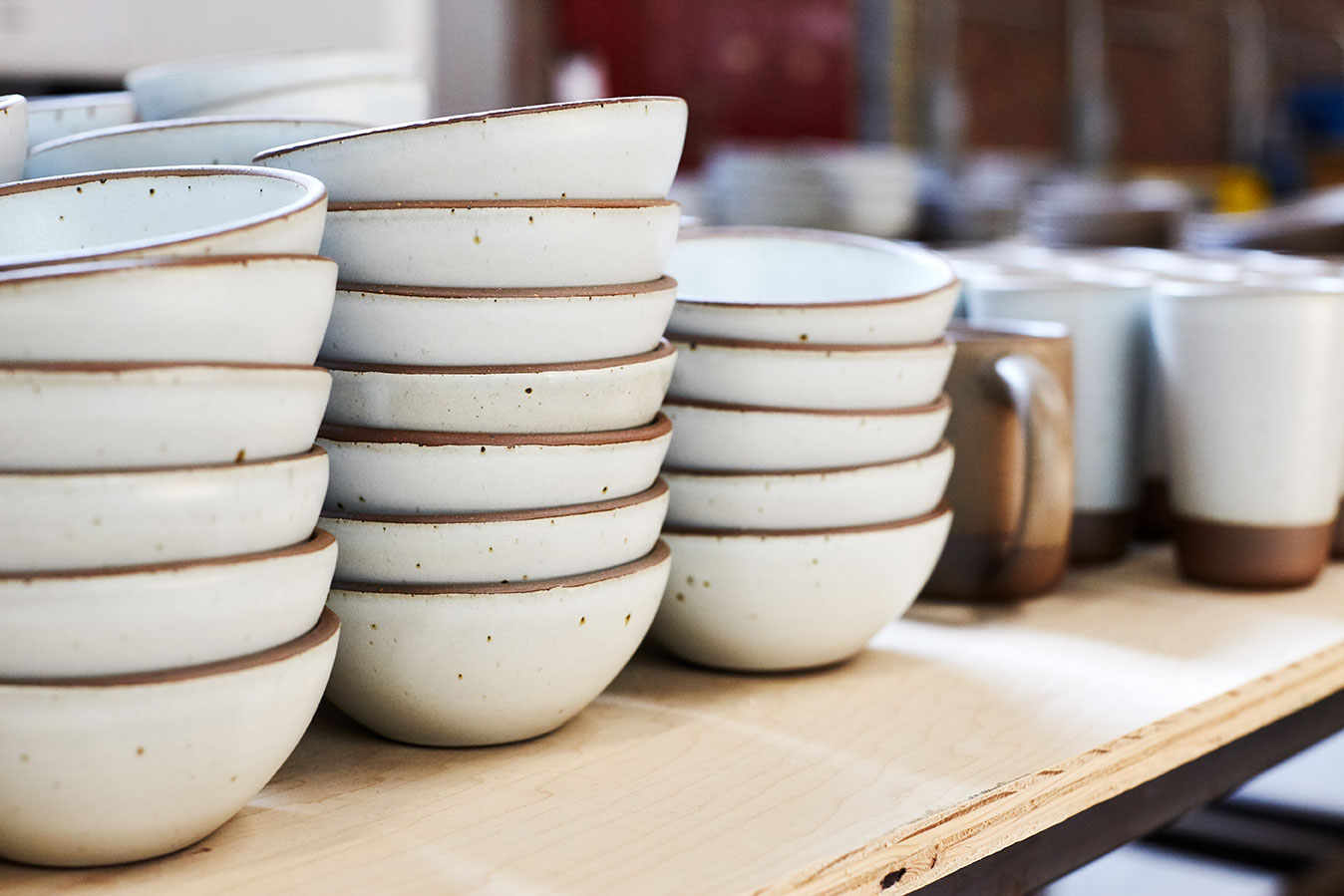 Row of Eggshell Cereal Bowls