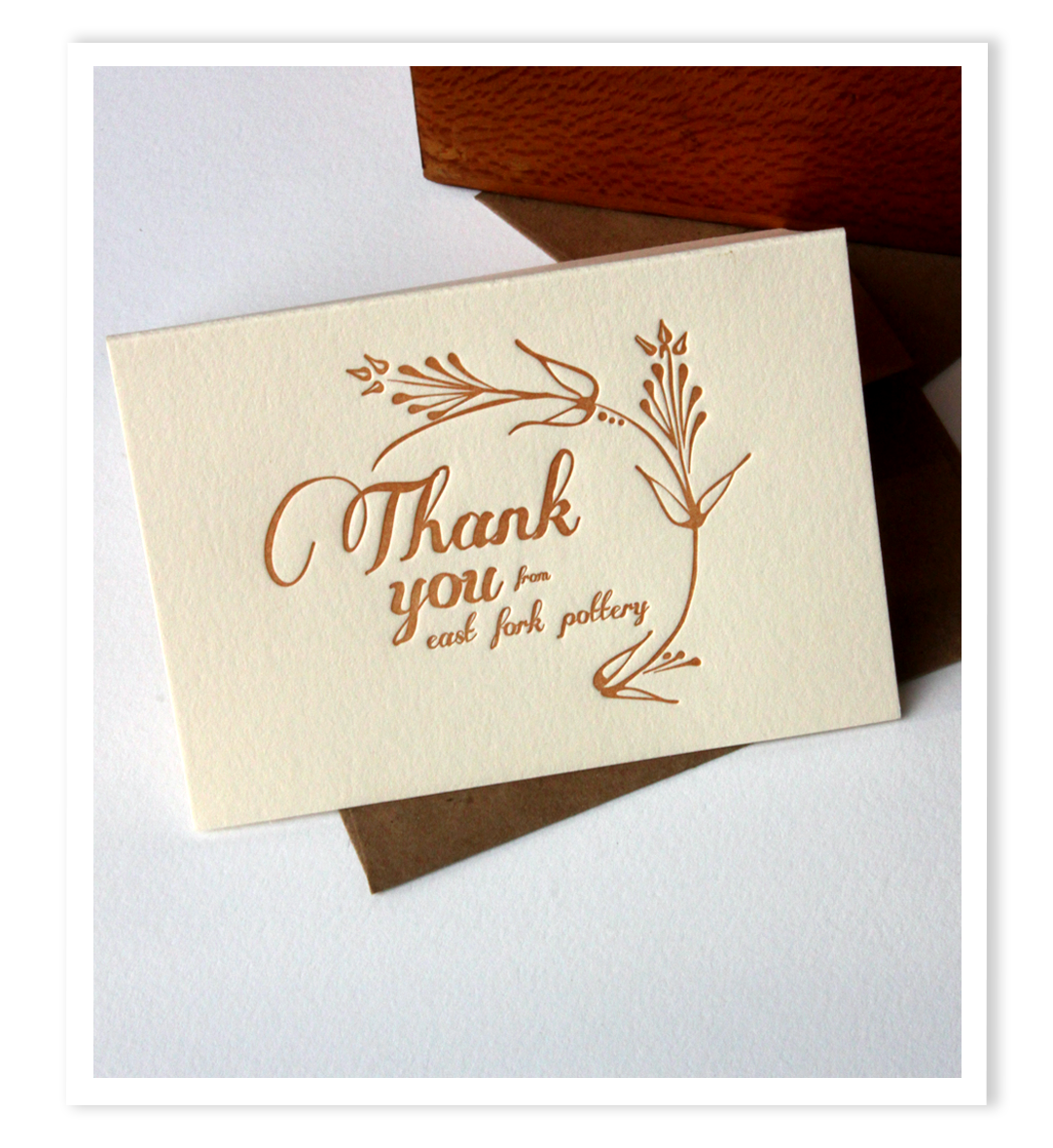 Thank you card made by Nicole for East Fork!