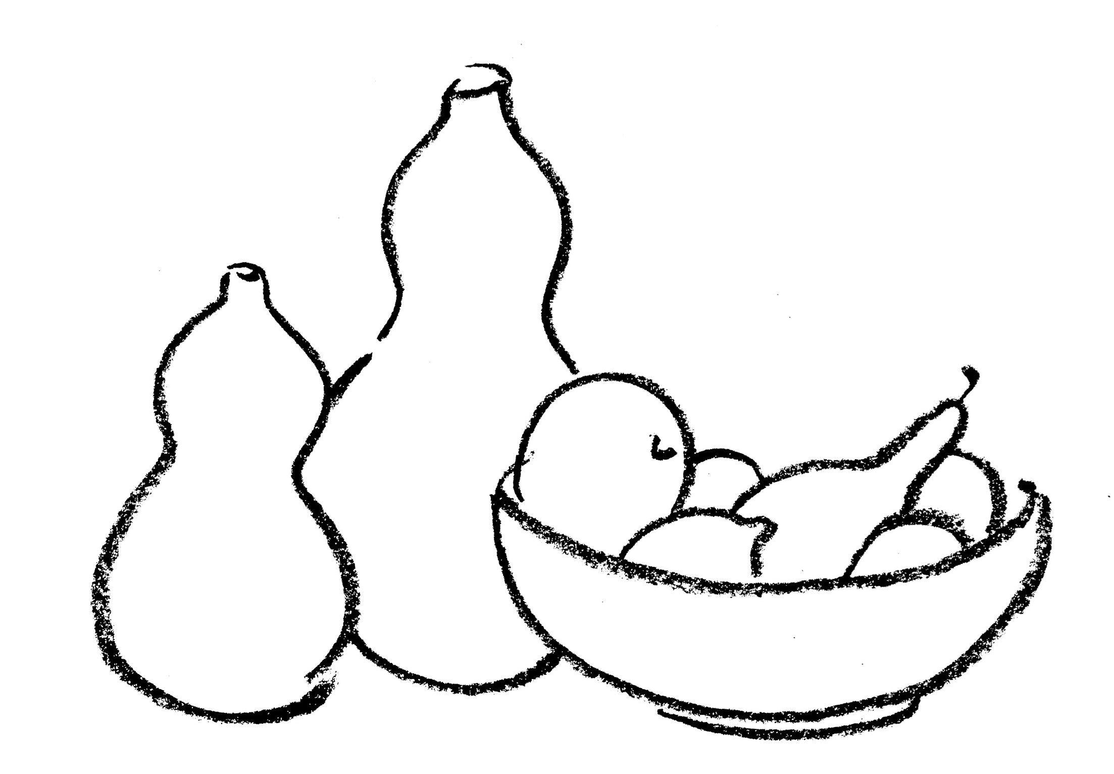 Crayon drawing of two East Fork vases and a fruit bowl.