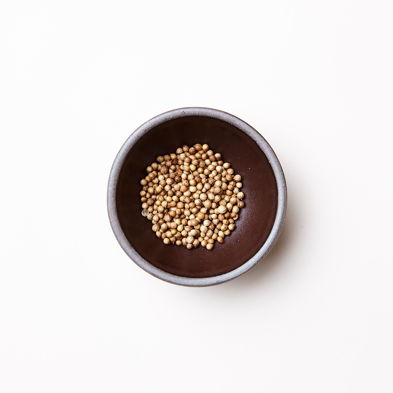 The Bitty Bowl by East Fork Pottery pictured in a dark molasses color holding white peppercorns