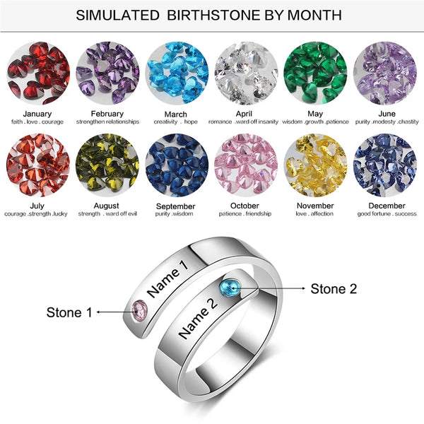 Personalized Birthstone Ring with one or more birthstones and engravings