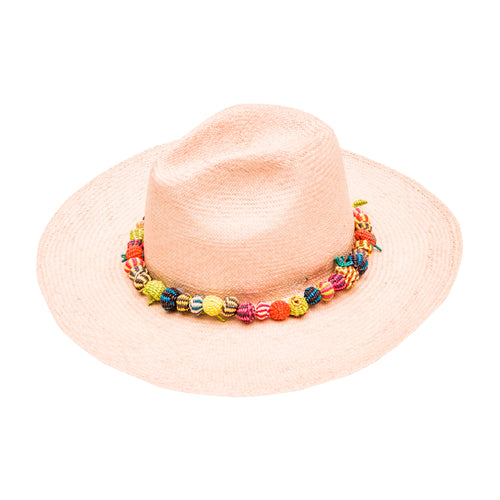 Beaded Pink Wide Brim : Straw Fedora