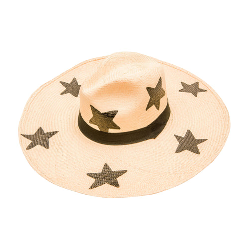 Hand-Painted Large Stars : Wide Brim Straw Hat