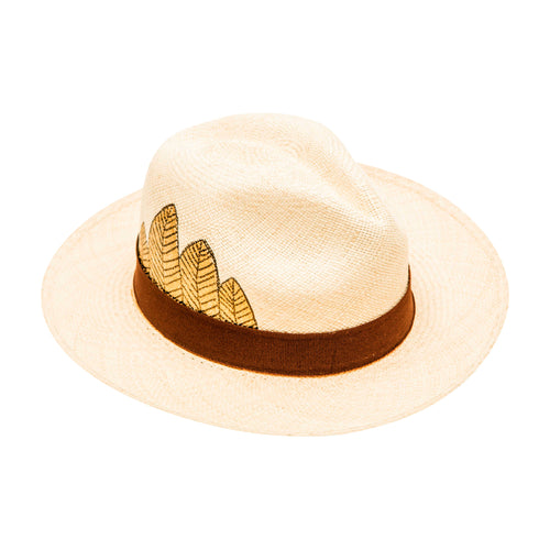 Gold Tribal Feather: Straw Hat