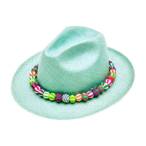 Mint Beaded: Straw Fedora
