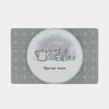 Grey paper wrapped soap with Special Mum and garden drawing