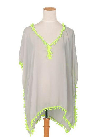 Pale Grey Kaftan With Neon Yellow Pompoms