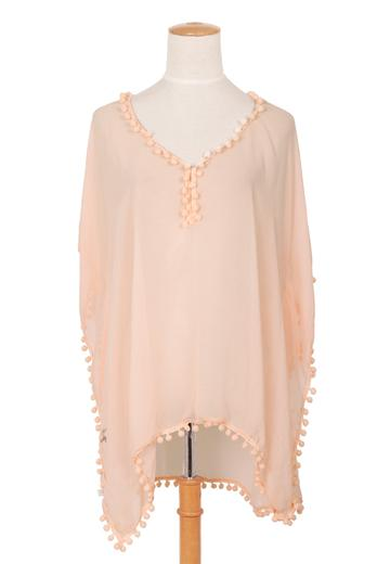 Pale Pink Kaftan With Pompoms