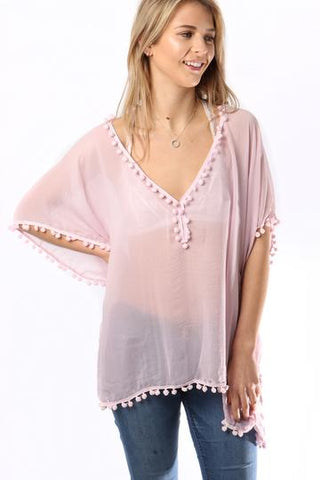 Pale Purple Kaftan With Pompoms