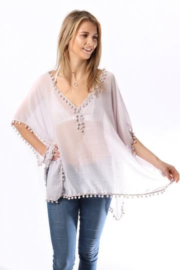 Pale Grey Kaftan With Pompoms