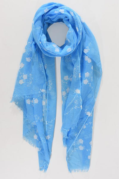 White Glitter Detail Flower Scarf