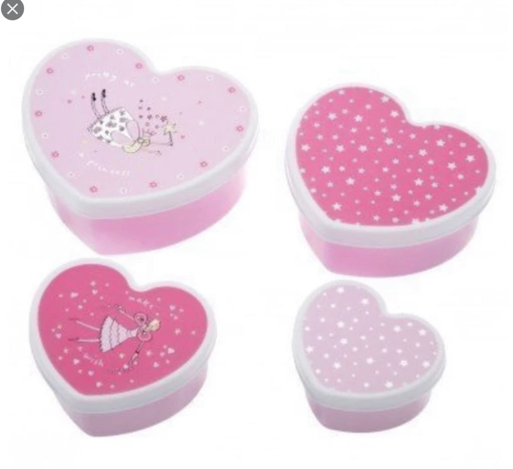 Bombay Duck Set Of 4 Fairy Heart Lunch Boxes