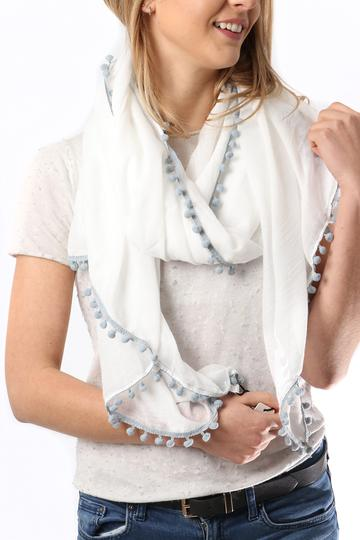 White/grey Pompom Scarf