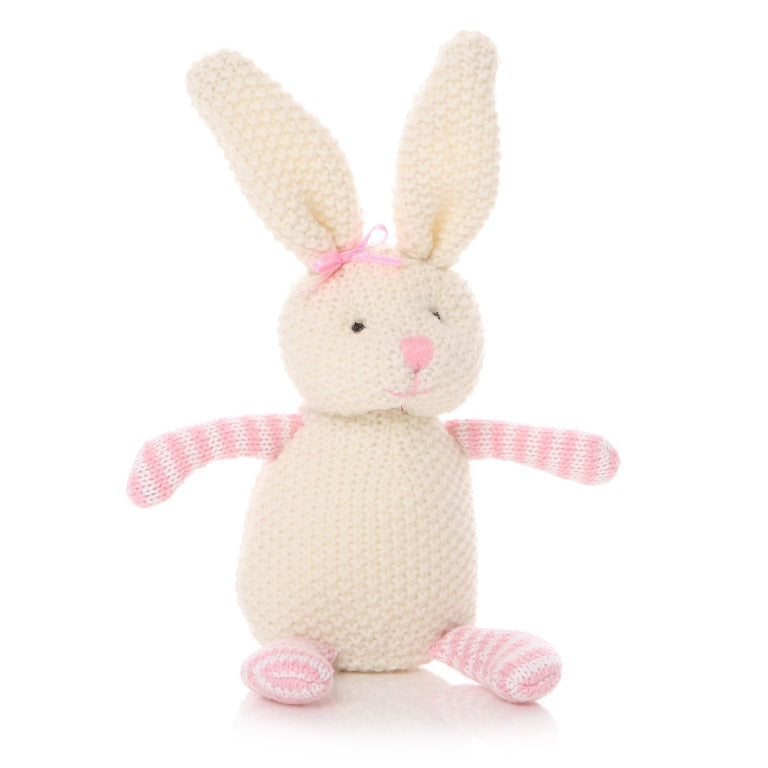 Knit Bunny in White with pink striped arms