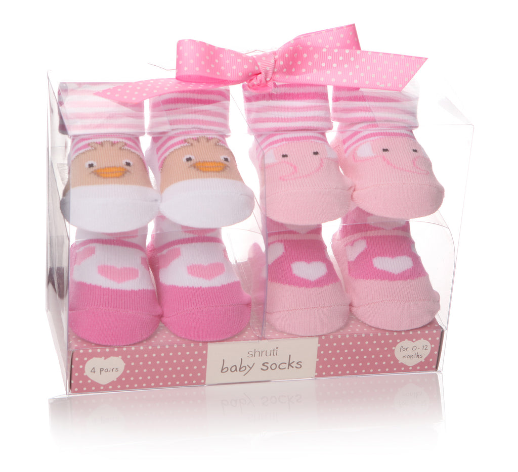 Baby Socks - Pink Bird/Elephant Assorted