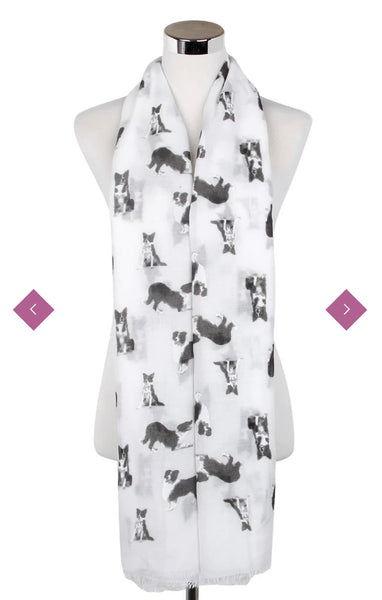 Border Collie Dog Print Frayed Scarf