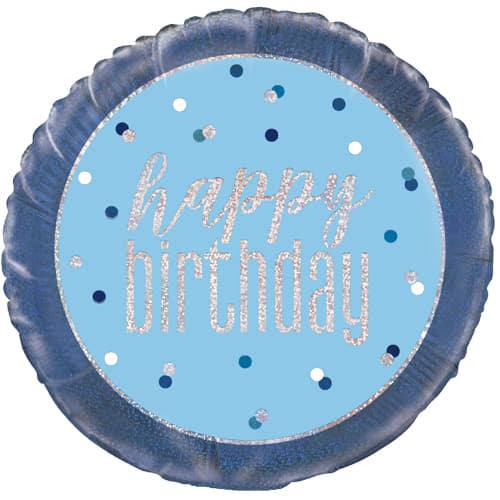 Blue Spots Happy Birthday Balloon
