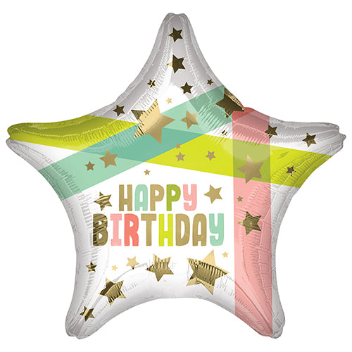 18 INCH BIRTHDAY GOLD STARS & COLOUR FOIL BALLOON