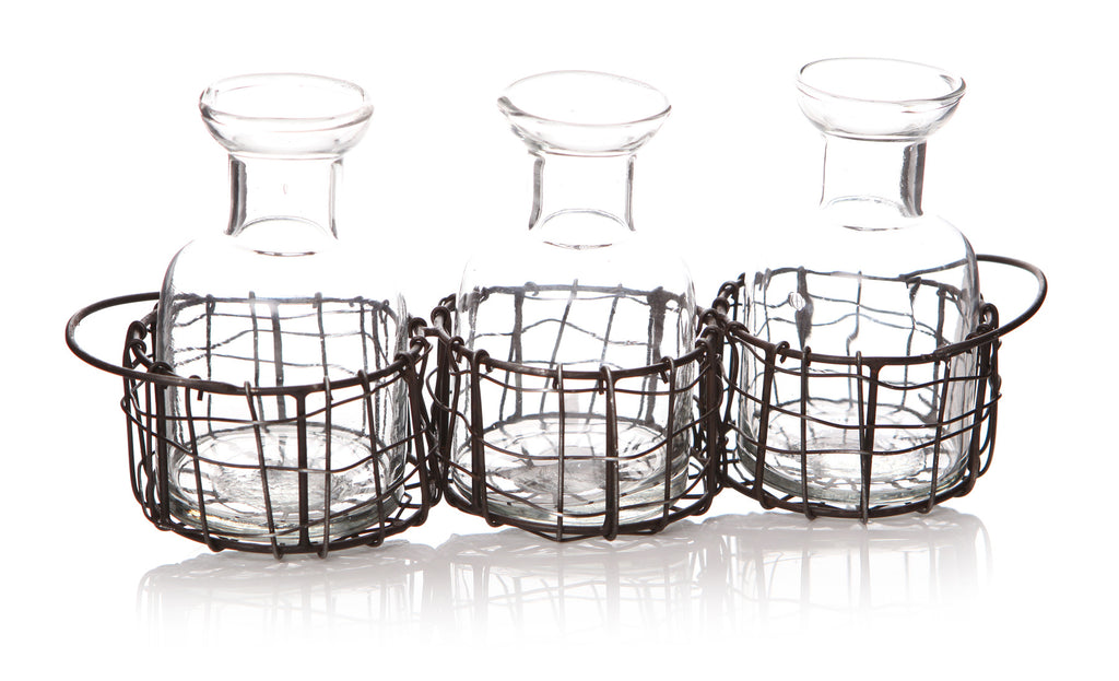 glass tealight holders with black wire mesh - pack of three