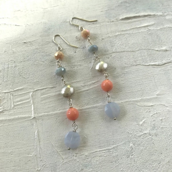 5 Stone Earrings Ice Blue/Coral