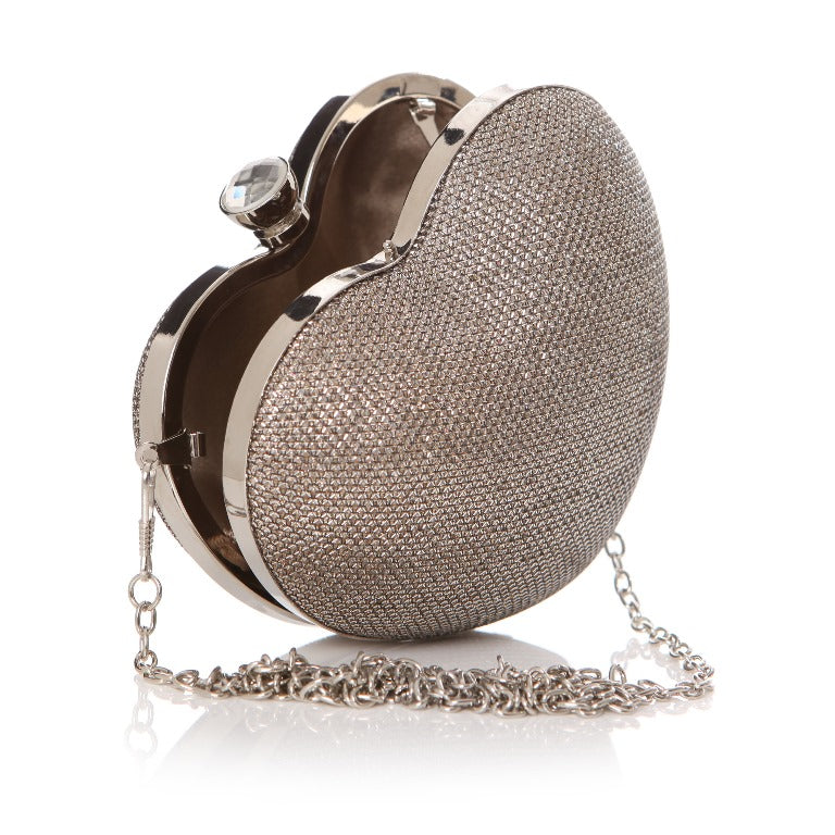 Ta Da Solid Clutch Heart Bag Silver