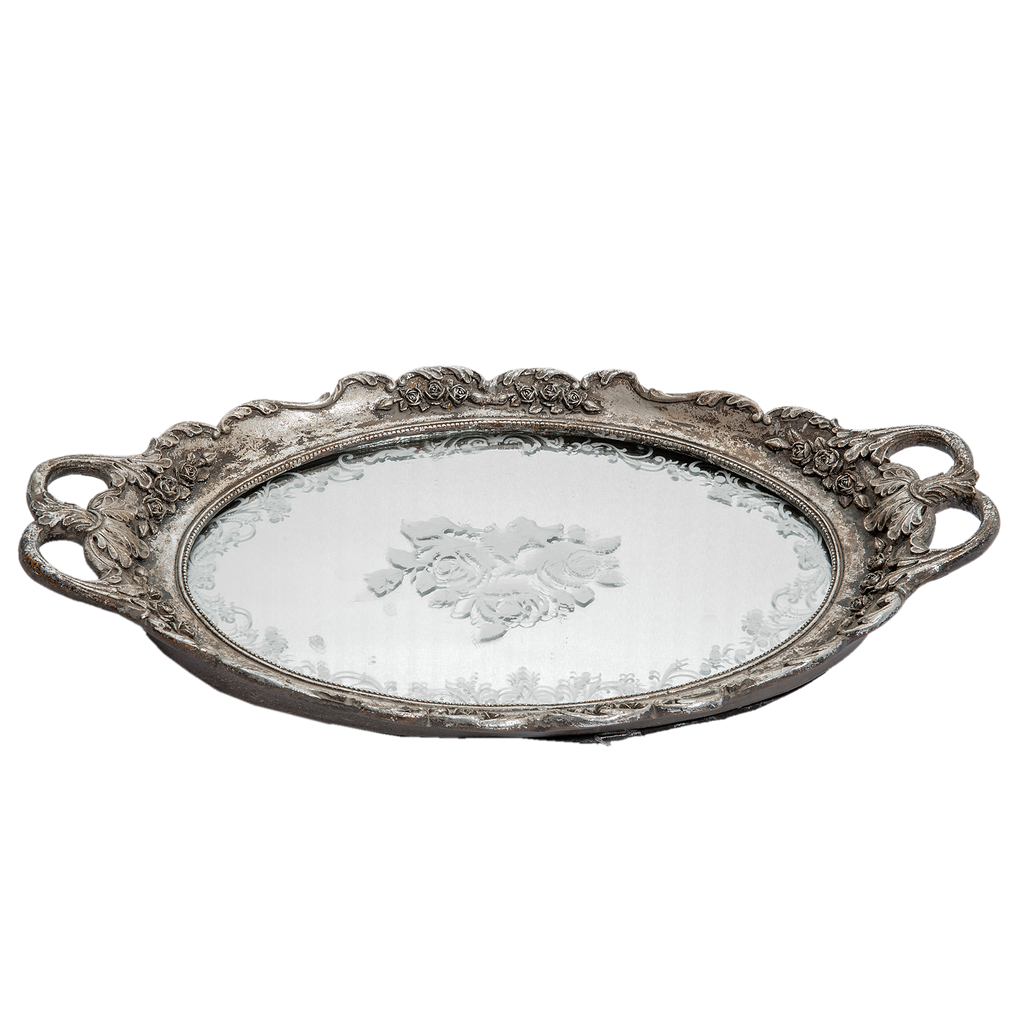 Ornate Silver Mirror Tray Victorian Design