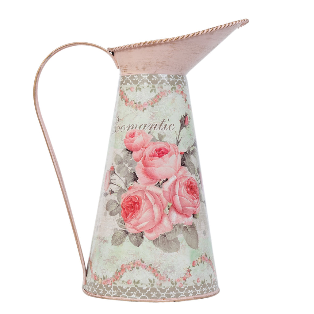 Metal Pink Floral Pitcher Jug