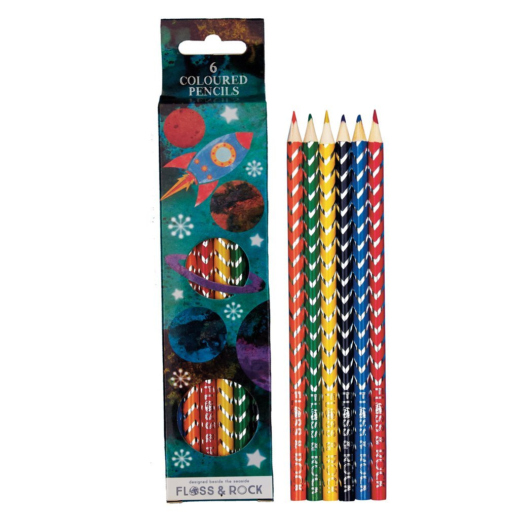 COLOURED PENCILS PACK 6 ROCKET