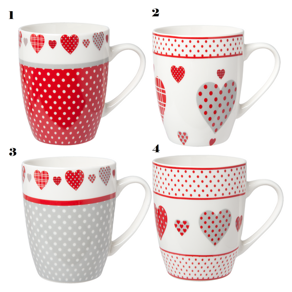 Assorted Red/Grey Love Mugs