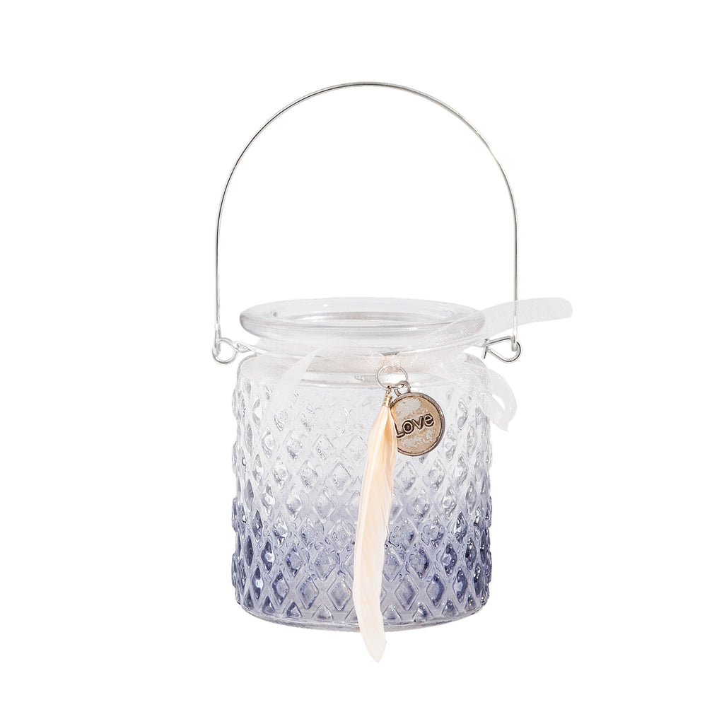 Hanging Tealight Holder With Feather 8x9cm