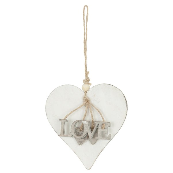 white wooden heart with love hanging