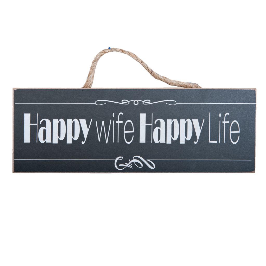 Hanging Wooden Happy Wife Sign