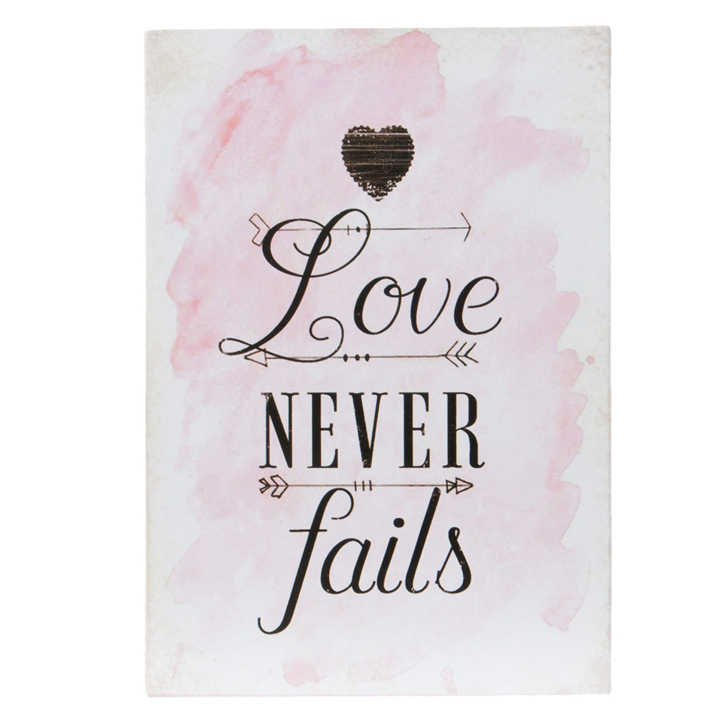 Love Never Fails Mini Standing Plaque
