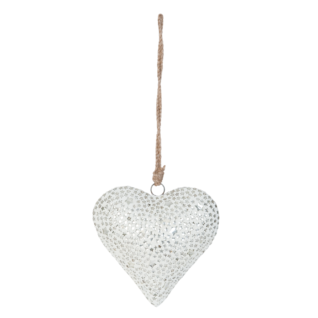 Hanger Heart White Stars Small