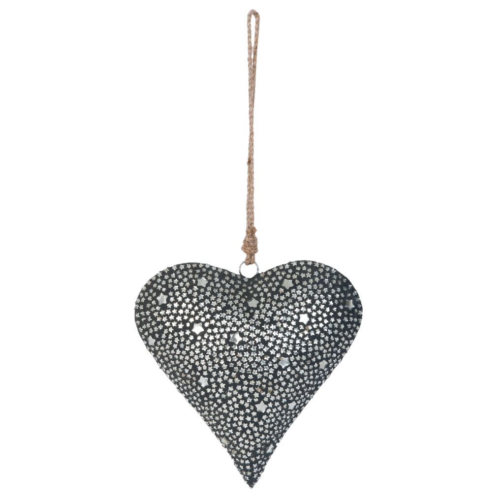 Hanger Heart Grey Stars Medium