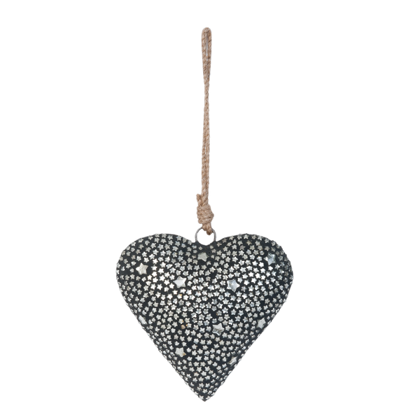 Hanger Heart Grey Stars Small